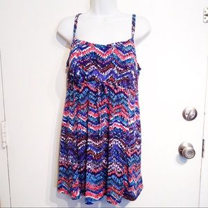 Tropical Escape Plus Size Skirted Swimsuit Dress